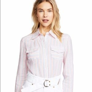 NWT 🎁 MILLY Striped Cropped Button-Up Top
